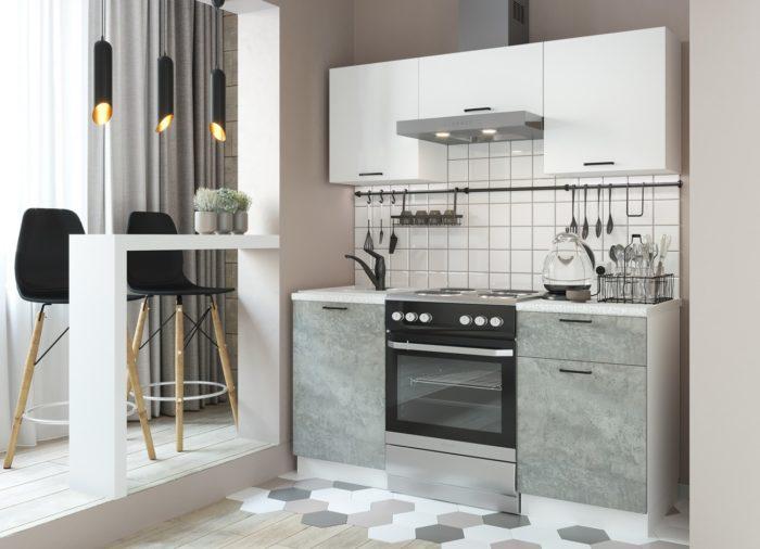Кухня Дуся-2 (1,6м) Белый/цемент