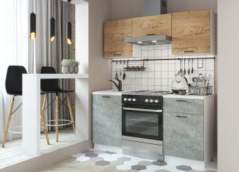 Кухня Дуся-2 (1,6м) Дуб бунратти/цемент
