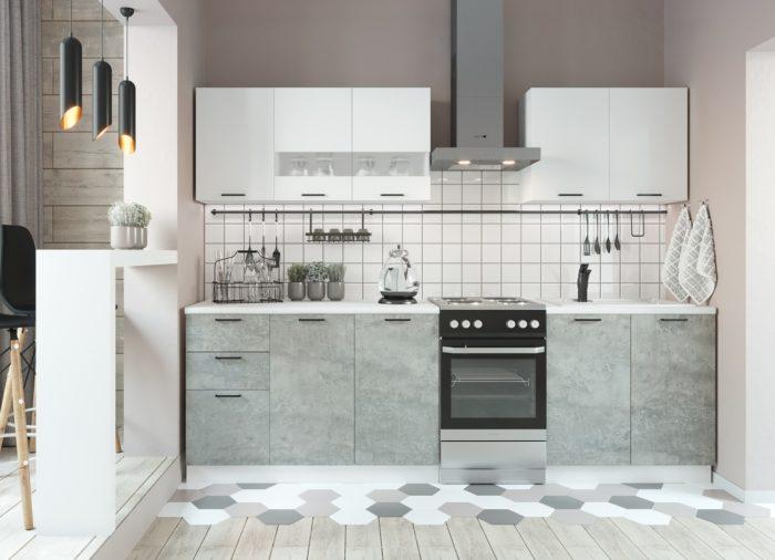 Кухня Дуся-2 (2м) Белый/цемент