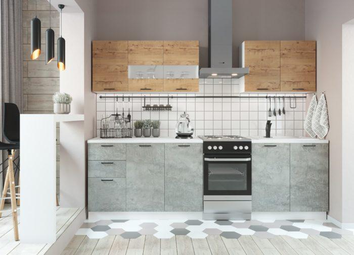 Кухня Дуся-2 (2м) Дуб бунратти/цемент