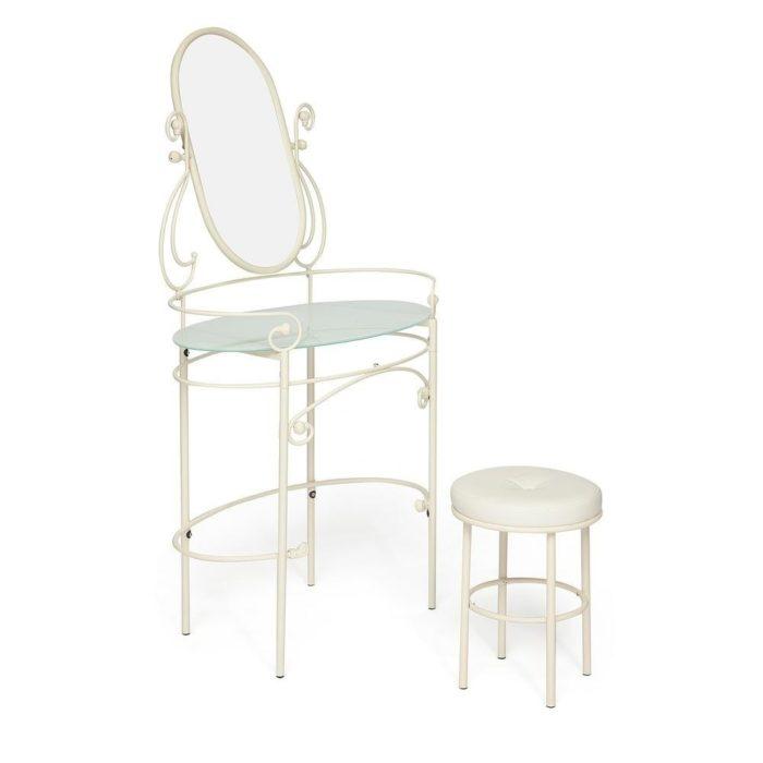Туалетный столик с пуфом TetChair Albert античный белый