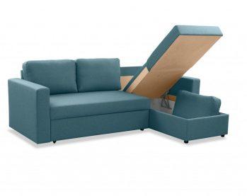 """Угловой диван """"Фишер-Торонто"""" Голубой - бельевой отсек"""