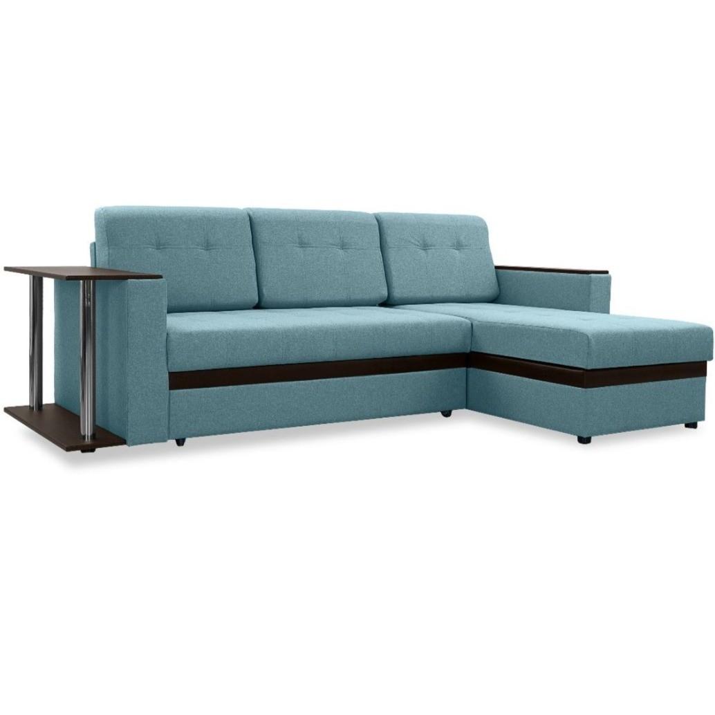 """Угловой диван с полкой """"Атланта"""" - голубой"""