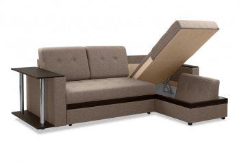 """Угловой диван с полкой """"Атланта"""" коричневый - бельевой отсек"""