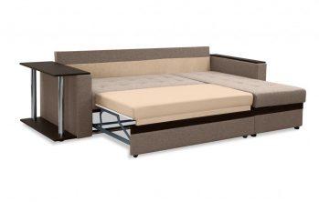 """Угловой диван с полкой """"Атланта"""" коричневый - разложенный"""