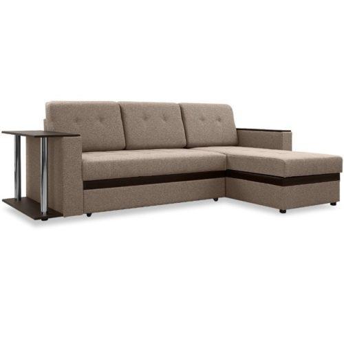 """Угловой диван с полкой """"Атланта"""" - коричневый"""